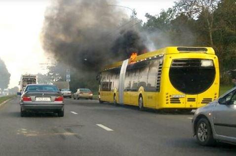 В Минске загорелся электробус.