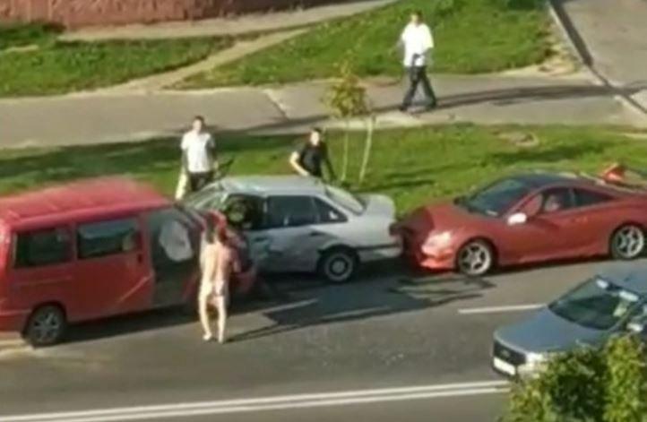дта, минск, улица Иосифа Жиновича, голый мужчины, водитель, гаи, авария