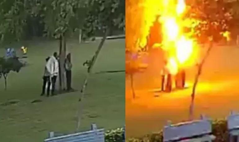 Удар молнии по людям в Индии попал на видео