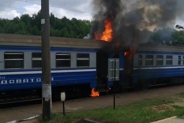 В Молодечненском районе загорелась следовавшая в Минск электричка